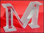 "Maley Laser Maley Laser 1"" Thick, 4"" high Glass Letter similar to the Glass lettering we did for the ""Clinton Library"""