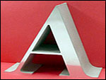 "Maley Laser Profiled View of the 1 1/2"" Thick Polished Aluminum Letter"