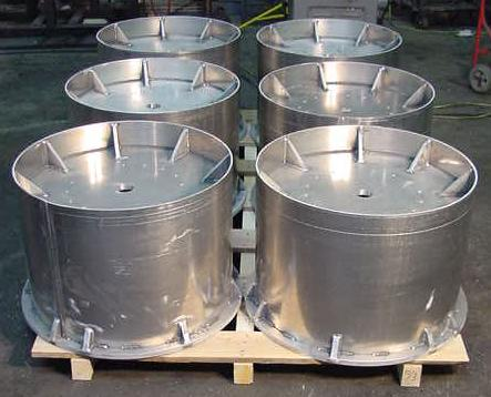 Aluminum drum assembly waterjet cut, roll-formed, & welded