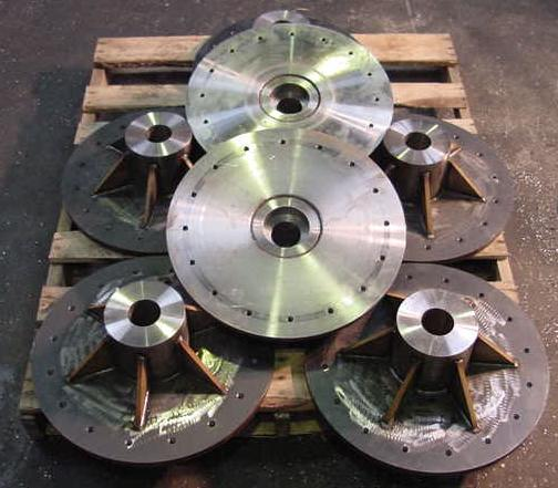 Pallet of mating hub assemblies for the Aluminum drum application found on our Fabricating page