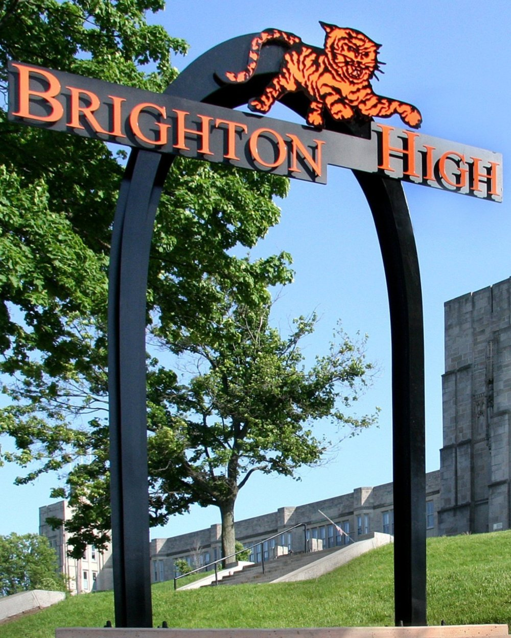Brighton High School (Boston, MA) arch, waterjet cut, welded, fabricated, painted, & installed all by Maley