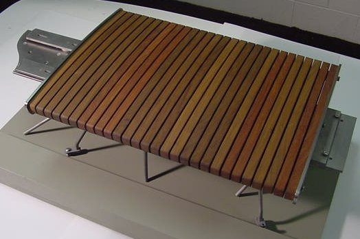 Half scale mock-up of Ip� (Brazilian grown Mahogany) and Stainless steel bench