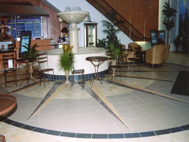 Cardis Furniture's tile flooring after waterjet cutting and installation