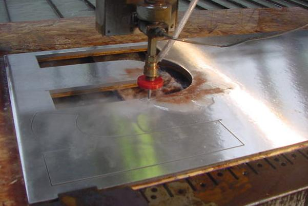 Tip O'Neill stainless letters being waterjet cut