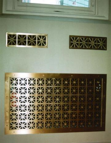 Custom architectural grating, waterjet cut from Brass