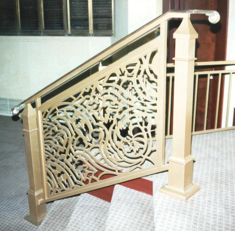 Ecclesiastical railing panel laser cut & brush finished