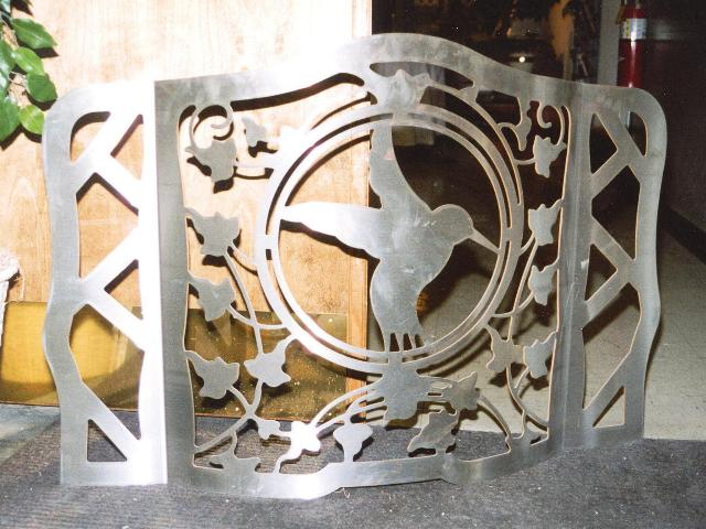 Laser Cut Stainless Steel fireplace screen