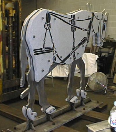 Stainless Steel, Granite and Rubber Mule Sculpture (3000 Lbs)