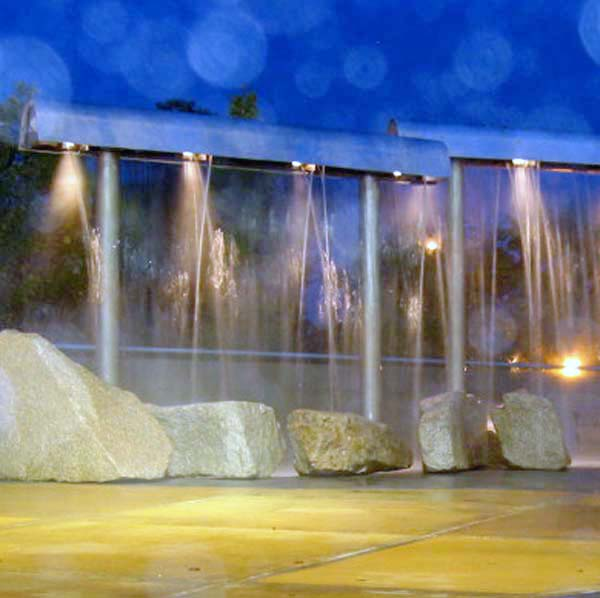 Falls Fountain in Auburn, Maine; Nighttime photo
